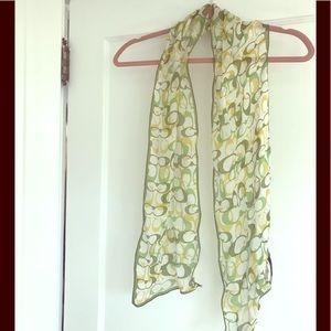 100% silk Coach scarf. Greens and yellows. EUC